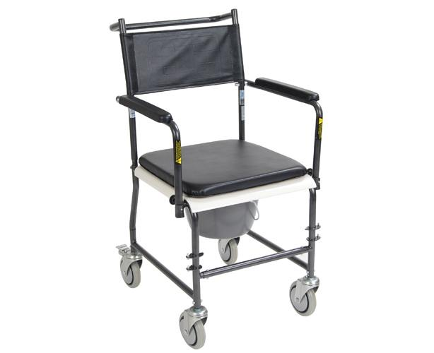 Drive Medical Portable Commode with Drop-Arms & Wheels, Upholstered