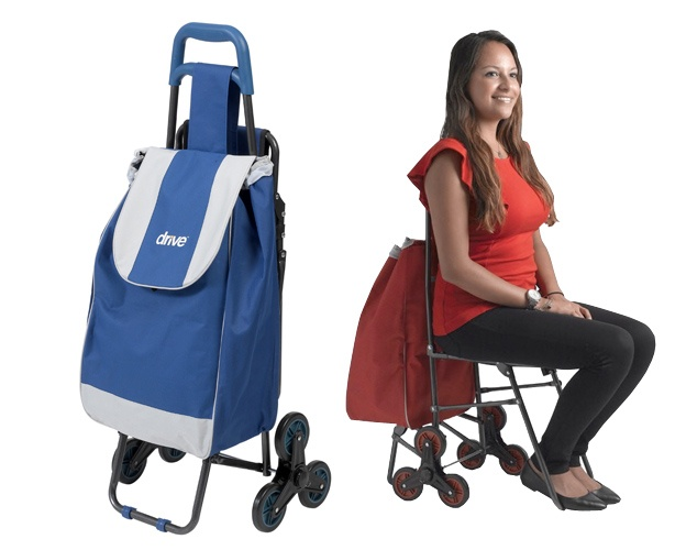 Drive Medical Deluxe Rolling Shopping Bag Cart with Seat