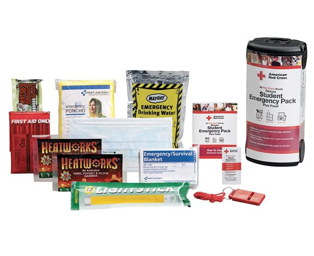 First Aid Only American Red Cross Deluxe Student Emergency Pack with Food