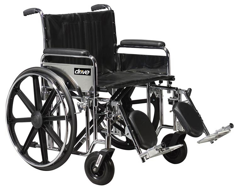 Drive Medical Sentra Extra Heavy Duty Wheelchair, 24