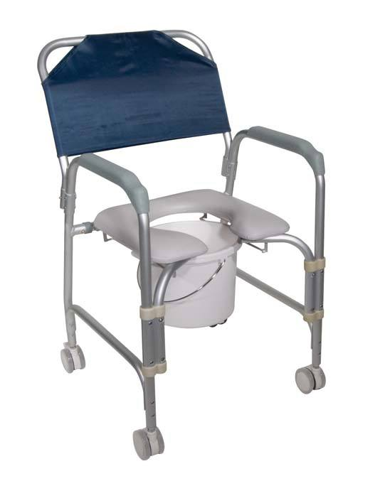 Aluminum Shower Chair and Commode with Casters