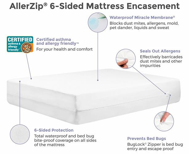 AllerZip Smooth Mattress Protector, Anti-Allergy & Bed Bug