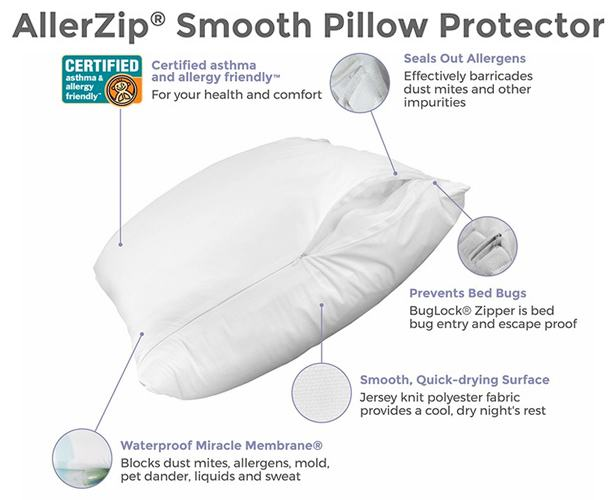 Allerzip Smooth Pillow Protectors, Bed Bug Proof