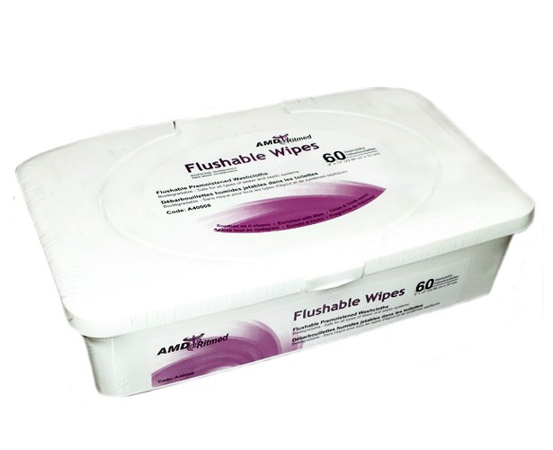 Medicom AMD-Ritmed Flushable Adult Wipes, 9 x 13 inches