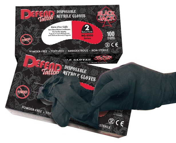 Mydent International Defend Tattoo Blackjack Powder Free Textured Nitrile Gloves