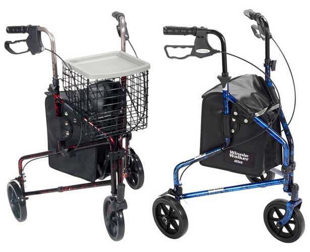 Drive Medical Aluminum Rollator with 3 Wheels & Large Casters