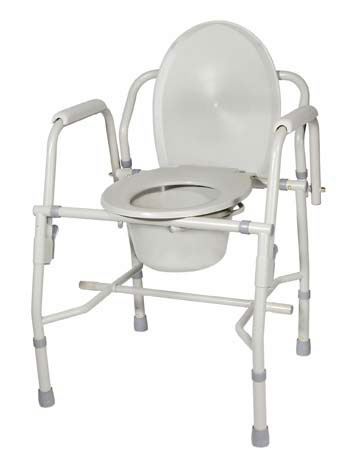 Deluxe Steel Drop-Arm Commode