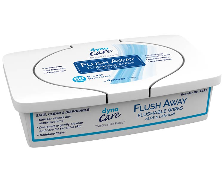 Dynarex DynaCare Flushable Wipes Tubs, Adult Size