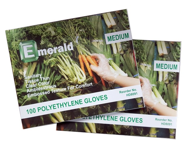 Emerald Gloves Emerald Plastic Gloves, Disposable
