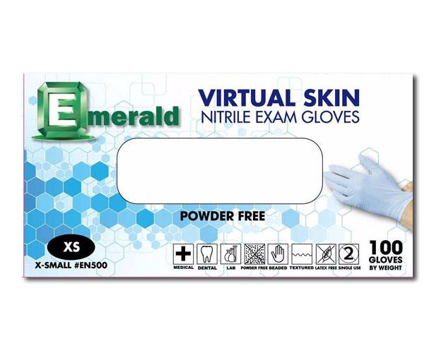 Emerald Gloves Emerald Virtual Skin Nitrile Exam Gloves