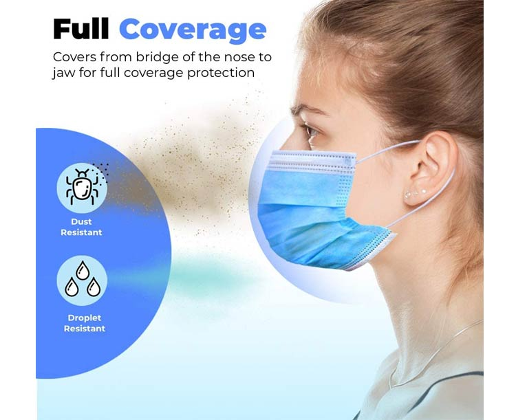 Disposable Protective Face Mask, Box of 50