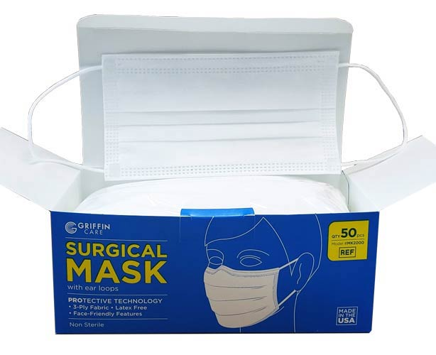 Griffin Medical Griffin Care Surgical Face Mask with Earloops - Made in USA