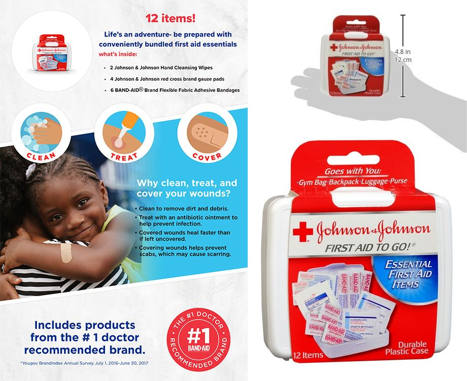 Johnson & Johnson Mini First Aid Kit To Go