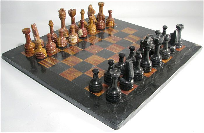 Red and Black Marble Chess Set