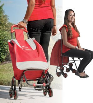 Deluxe Rolling Shopping Bag Cart with Seat
