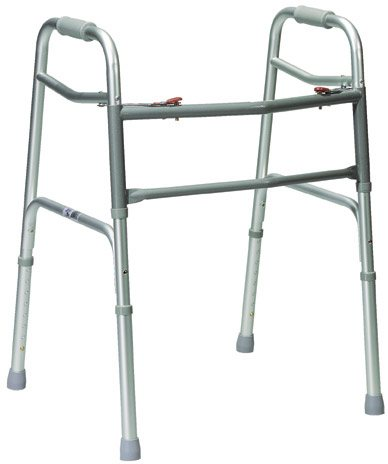 Drive Medical Oversized Aluminum Folding Walker, 2-button