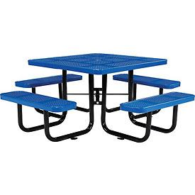 A blue picnic table shows part of our NY State contract for group 21510 which consists of outdoor and site furniture.