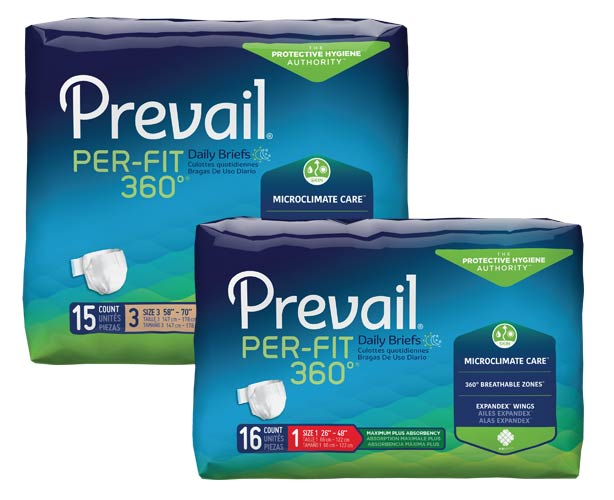 Prevail Incontinence Products Prevail Per-Fit 360 Adult Briefs, Maximum Absorbency