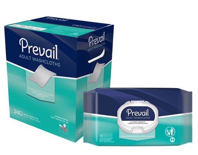 Prevail Incontinence Products Prevail Adult Washcloths, Soft Pack with Lid, 240ct