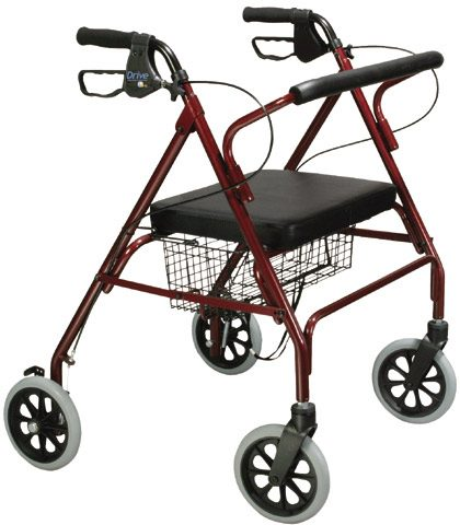 Drive Medical Bariatric Rollator with Padded Seat and Loop Locks