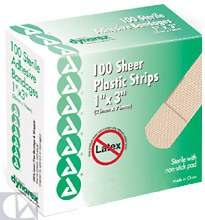 Dynarex Corp. Sterile Adhesive Bandages, Sheer Plastic Strips