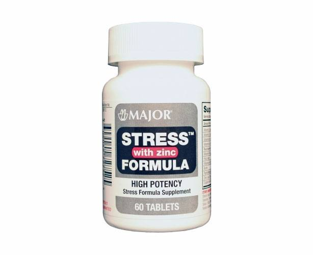 Major Pharmaceuticals Major Stress Formula with Zinc, 60 Tablets