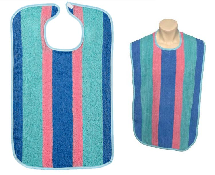 Connetquot West Adult Striped Reusable Bib with Full Barrier